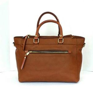 Handbags - Brown Vegan Leather Satchel Handbag Like New!